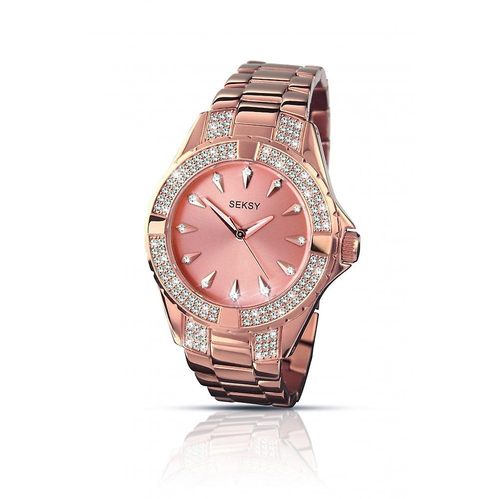 Seksy Ladies Seksy Round Rose Dial Stone Bezel And Rose Gold Plated Bracelet Watch