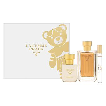 Prada la femme by prada for women 3 piece set inclui: 3.4 oz eau de parfum spray + 0.34 oz eau de parfum rollerball + 3.4 oz body lotion