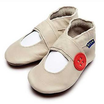 Baby shoes mary jane button (cream) - inch blue