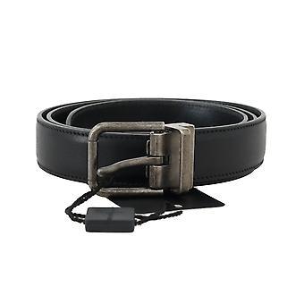 Dolce & Gabbana Black Leather Gray Brushed Buckle Belt