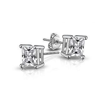 Boucles d'oreilles cz carrés en argent sterling