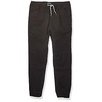 DKNY Boys' Big Jogger Pant, Mojito Twill Black, 14/16