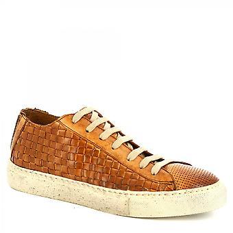 Leonardo Shoes Men's handgemaakte sneakers in tan geweven Montecarlo kalfsleer