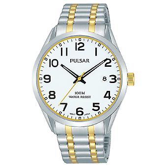 Pulsar Classic Quartz White Dial Two Tone Silver Gold Stainless Steel Bracelet Men's Watch PS9565X1
