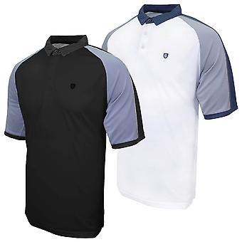 Island Green Mens 2020 Contrast Raglan Wicking Golf Polo Shirt