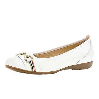 Gabor Resolution Casual Leather Ballet Pumps In White