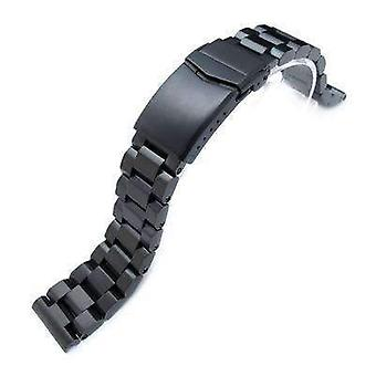Strapcode watch bracelet 20mm hexad oyster 316l stainless steel watch band straight lug, v-clasp button double lock, pvd black