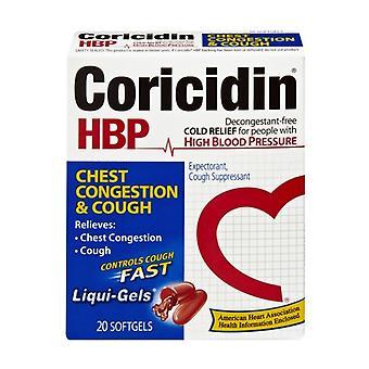 Coricidin hbp chest congestion and cough, softgels, 20 ea