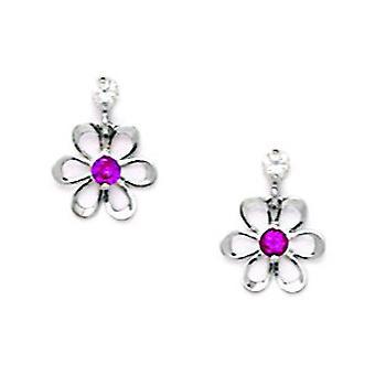 14k Wit Goud Rood CZ Kubieke Zirconia Gesimuleerde Diamond Small Flower Drop Screw terug Oorbellen maatregelen 10x8mm sieraden Gif