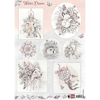 Marianne Design 3D Decoupage sheet Winter dream pink EWK1252 A4