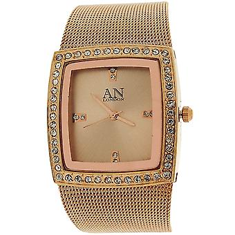 AN London Ladies Square Dial CZ Bezel Yellow Tone Metal Mesh Bracelet Strap Watc