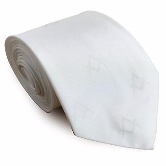 Frimurere silke slips med selv print firkantet kompass hvit