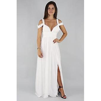 Draped shoulder gown