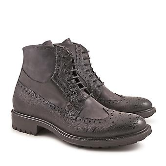 Handmade oxfords lace-up ankle boots grey color
