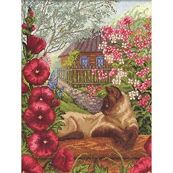 Panna Cross Stitch Kit : Cat in Hollyhocks