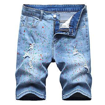 Allthemen Men's Cu imprimeu Hole Pantaloni scurți din denim elastic cu talie medie