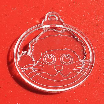 6PKサンタ帽子猫クリアアクリルクリスマスの装飾