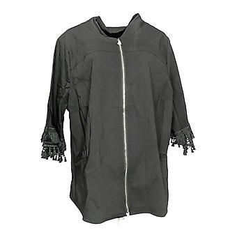 Belle by Kim Gravel Women's Plus Twill Zip-Front Jacket Black A350511