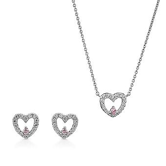 Orphelia Silver 925 Pendant and chain 45cm - Earring  Heart with Zirconium - Pink