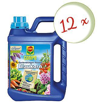 Sparset: 12 x COMPO garden fertilizer Blaukorn® NovaTec® liquid, 2.5 litres