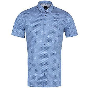 BOSS Magneton Slim Fit Glasses Print Blue Shirt
