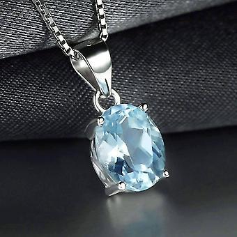 Blu ghiaccio autentico topaz ovale taglio 2ct iobi gemme preziose gemme collana ciondolo