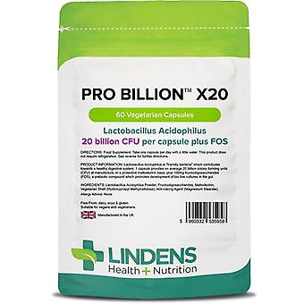 Lindens Pro Billion x20 20bn CFU VegCaps 60 (5958)