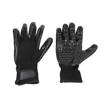 1 Pair Black Pet Rubber Pet Grooming Glove