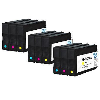3 Zestawy atramentowe 3 Go Inks Kompatybilne z atramentem C/M/Y w celu zastąpienia kolorowych wkładów atramentowych hp 953 (9 atramentów) - cyjan, purpurowy, żółty kompatybilny / bez OEM dla drukarek HP Officejet