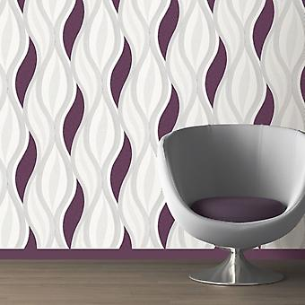 Purple Glitter Waves Silver White Quality Textured Vinyl Feature Wallpaper