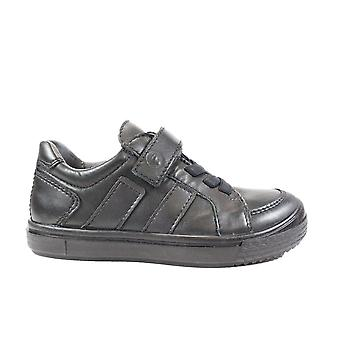 Ricosta Jacob 5621300-090 Black Leather Boys Rip Tape/Bungee Lace School Shoes