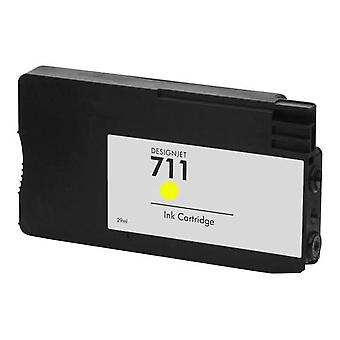 RudyTwos erstatning for HP 711 blekkpatron gul kompatibel med Designjet T120, T520