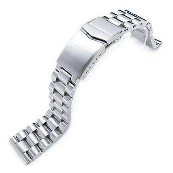 Strapcode watch bracelet 22mm solid 316l stainless steel endmill metal watch bracelet, straight end, v-clasp button double lock