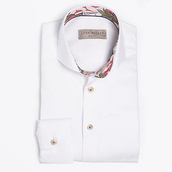 John Miller  - Floral Insert Easy Iron Shirt - White