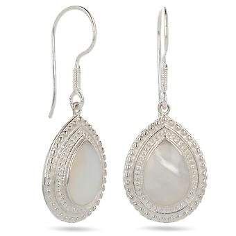 ADEN 925 Sterling Silver White Mother-of-pearl Drop Shape Earrings (id 3346)