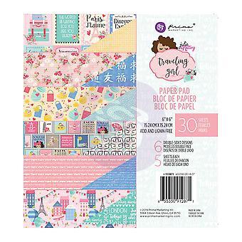 Prima Marketing Traveling Girl 6x6 Inch Paper Pad