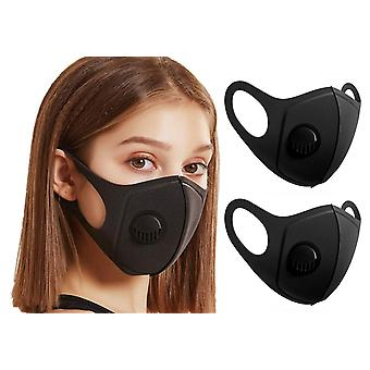 2X Sponduct Face Mask , Washable Reusable Black Fabric Mouth Guard