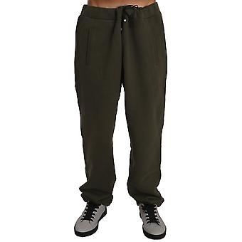 Milliardaire italien Couture Men-apos;s Fleece Gym Pantalon Vert BIL2051