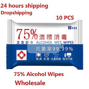 10sheets Portable 75% Alcohol Wet Wipes For Antiseptic Disinfection Sterilization Household Hand Cleaning