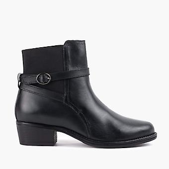 Cheryl black leather ankle boot