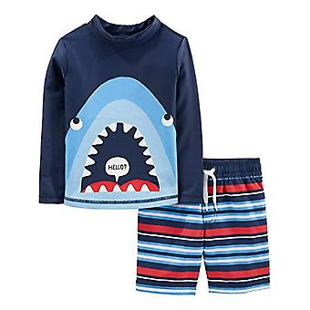 Simple Joys by Carter's Boys' 2-Piece Swimsuit Trunk and Rashguard, Blue Shar...