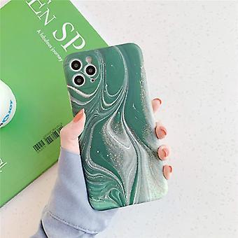 Moskado iPhone XR حالة الرخام الملمس - صدمة لامعة حالة الجرانيت غطاء الغلاف TPU