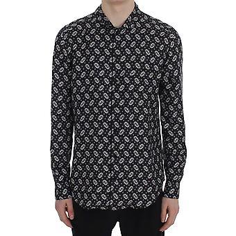 Dolce & Gabbana μαύρο floral εκτύπωση μεταξωτό πιτζάμα πουκάμισο SIG30058-4