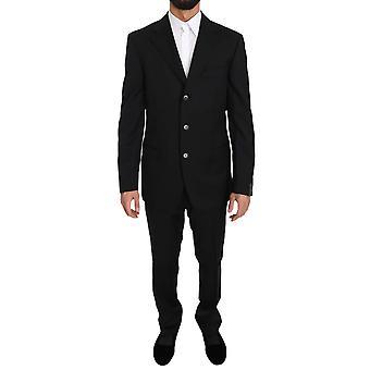 Z Zegna Black Two Piece 3 Button Wool Suit KOS1415-52