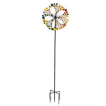 Homemiyn Windmill Round Shape Multicolor Garden Decoration