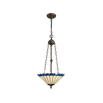 Luminosa Lighting - 3 Light Uplighter Plafond hanger E27 Met 40cm Tiffany Tint, Blauw, Kristal, Aged Antieke Messing
