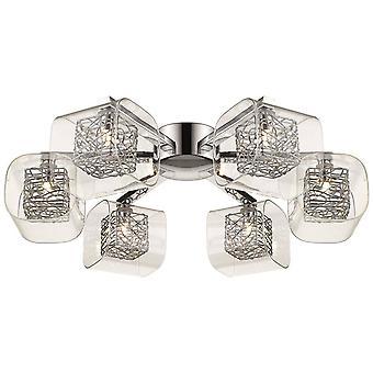 6 Light Flush Multi Arm Mesh Ceiling Light Chrome, Clear and Glass, G9