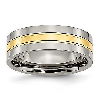 Titan 14 k Gold geblitzt gravierbare 7mm poliert Band Ring Schmuck Geschenke für Frauen - Ring Größe: 5 bis 15