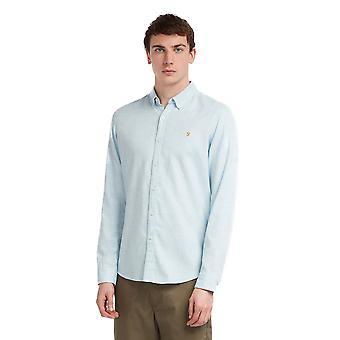 Farah Kreo Geborsteld katoenen shirt - lichtblauw