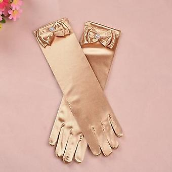 Long Satin Princess Gloves With Bow Knot For Kids